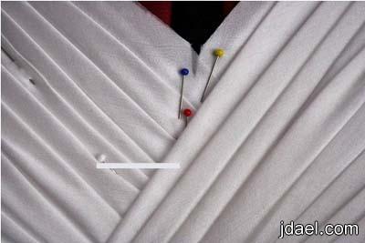 خطوات خياطة فستان بالشيفون بموديل الدرابي للعروسه بالصور
