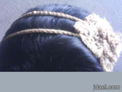 استخدام ورد الكروشيه اطواق الشعر للبنات