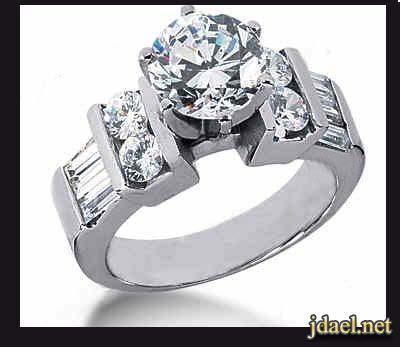 خواتم ودبل خطوبه سوليتير الماس باجيت على الذهب الابيض