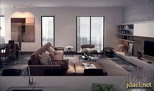 تصاميم وديكور غرف معيشه ودهانات وورق جدار الوان هادئه