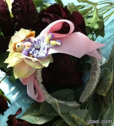 اطواق واكسسوارات شعر للبنات الصغار بالعرايس والزهور الملونه