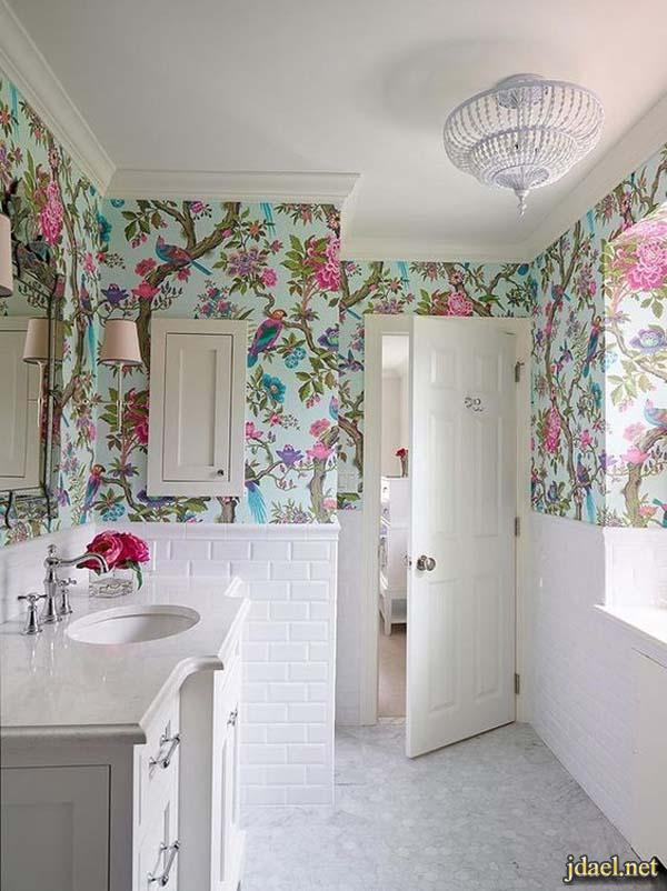 ديكورات حمامات ملونه روعة ديكور غرفة الحمام بالوان كلاسيك ومودرن