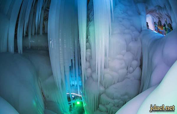 كهف الجليد جبل لوشان نينغوو مغارة الجليد الغريبه التي تذوب
