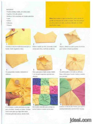 طريقة غطاء مخدة مربعات القماش بالصور،اعمال يدوية جديدة،اشغال 2011