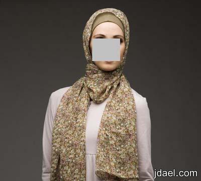 شالات مشجره للمحجبات طرح للفات الحجاب الحرير والشيفون المشجر