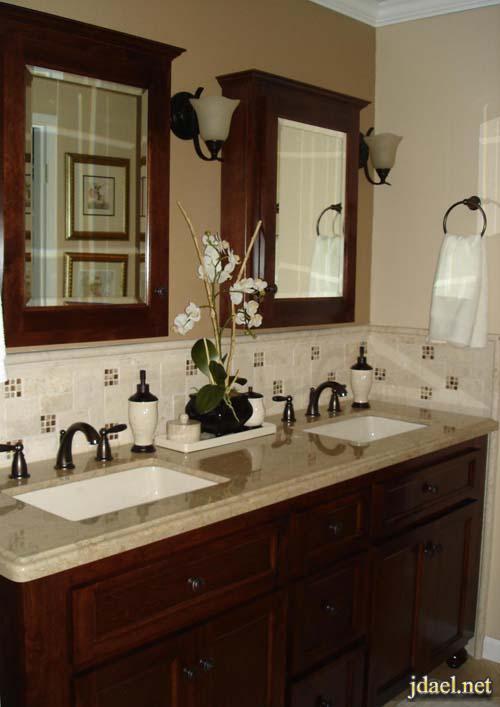 صور ديكور مغاسل حمامات رخام وخشب للبيوت الراقيه