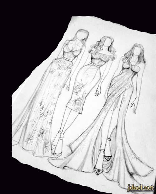 موديلات فساتين للسهرات تصاميم ازياء السهرة رسم باليد