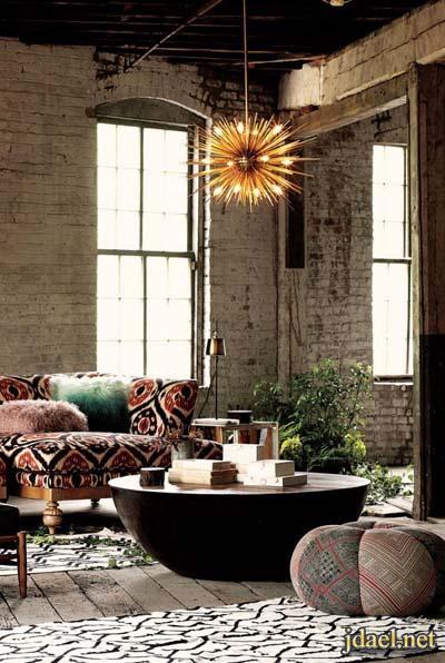 طاولات غرف معيشه من الخشب والجلد تصاميم عصريه