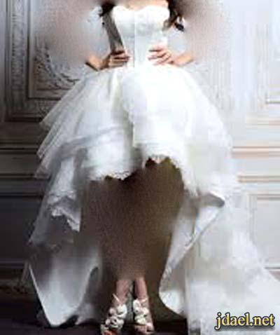 نصائح للعروسه لاختيارها موديل فستان الزفاف قصير من الامام