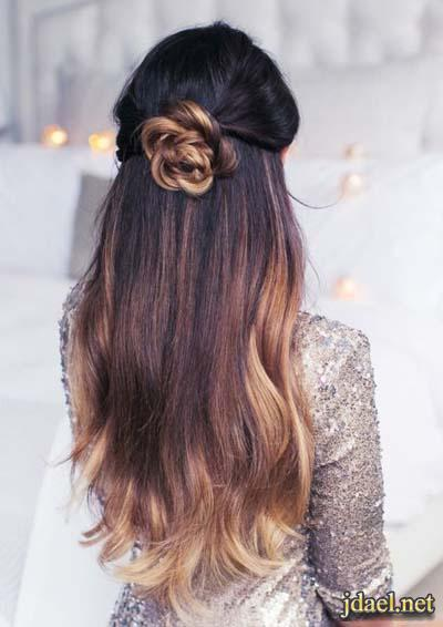 تسريحات الشعر للبنات ضفاير الطوق والعقدة للشعر الطويل الكثيف