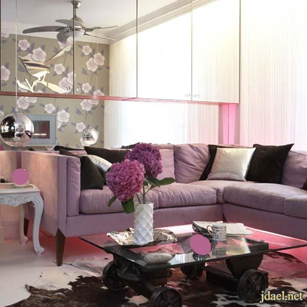 ديكور باللون الرمادي ودرجات الموف لغرف الاستقبال والمعيشه