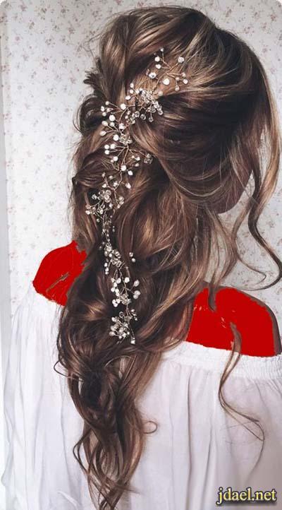 جديد تسريحات الشعر الطويل للعروسة ليلة الزفاف