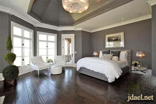 ديكورات ودهانات غرف نوم باللون الاسود والابيض والرمادي