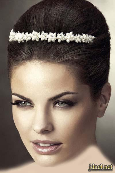 اكسسوار شعر العروسه بموديلات الطوق والتاج الكرستال والريش