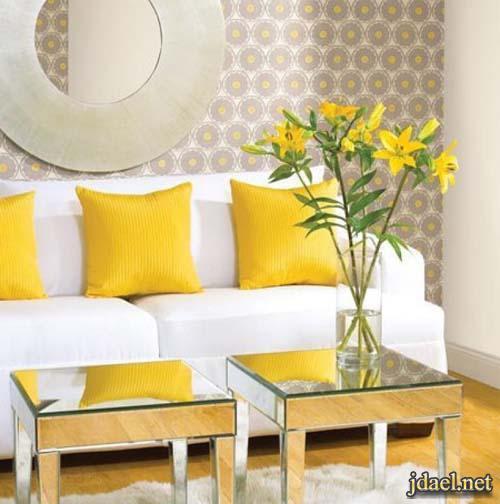ديكور روعة باللون الاصفر غرف الجلسة والصالة