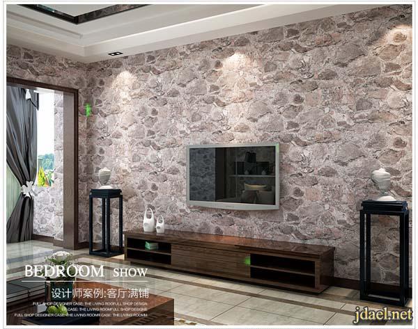 ديكور ورق حائط روعه تصميم الحجر القديم للبيوت العصريه