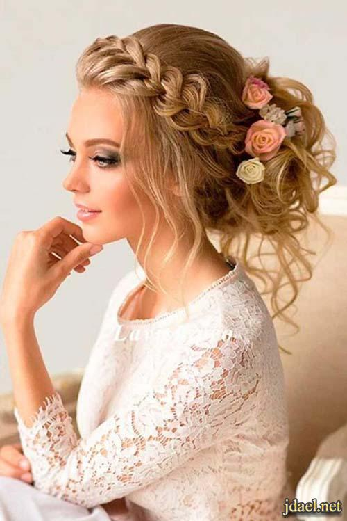 تسريحات للشعر الطويل جميلة جدا للعروسة ليلة الزفاف