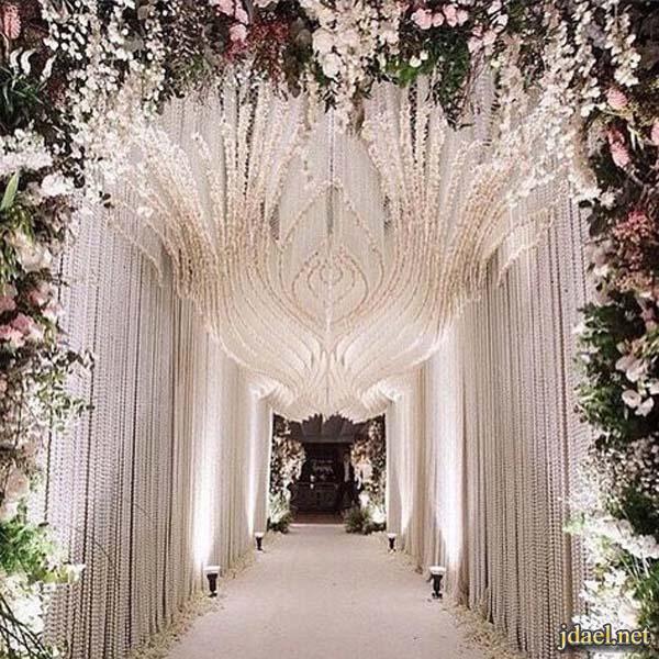 صور كوش افراح مداخل وممرات الزفاف وتزيين البوفيهات بالورد