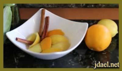 قشر الليمون والبرتقال لازالة الروائح الكريهه المنزل